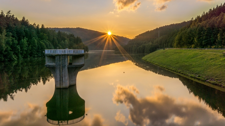 Picture of the water reservoir Marbach (Germany)